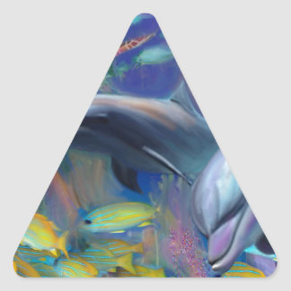 Enchanted Dolphins Triangle Sticker