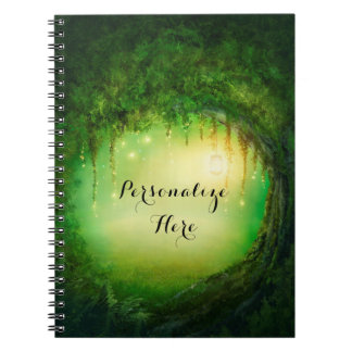 Enchanted Dreamy Forest & Lights Rustic Custom Notebook