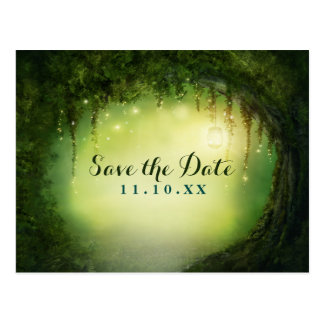 Enchanted Dreamy Forest Rustic Save the Date Postcard