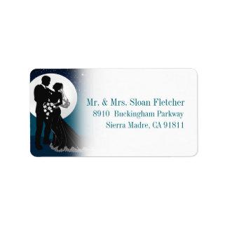 Enchanted Evening Nighttime Wedding Label | Teal Address Label