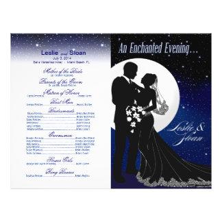 Enchanted Evening Nighttime Wedding Program | navy