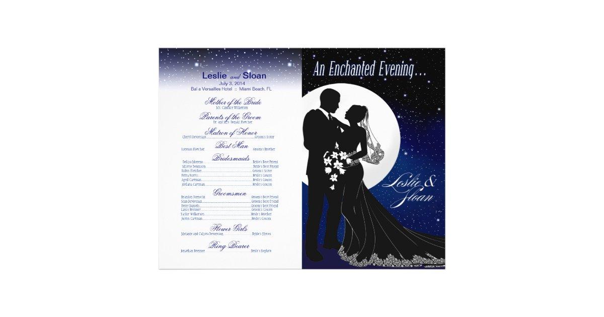 Enchanted Evening Nighttime Wedding Program | navy | Zazzle.com