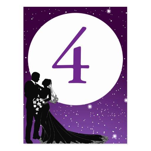 Enchanted Evening Nighttime Wedding Table Card Postcard