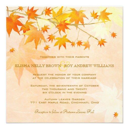Enchanted Fall Leaves Rural Wedding Invitations 525 Square Invitation Card