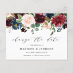 """Enchanted Floral Change The Date Wedding Announcement Postcard<br><div class=""""desc"""">Need to change your wedding date? Our elegant, floral change the date wedding postponement postcards are perfect to help you notify guests of your new wedding date. The stylish, change the date postcard features """"Change the Date"""" in a trendy calligraphy script with a top border of blush, burgundy, & navy...</div>"""