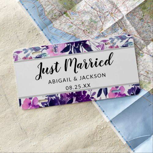 Enchanted Floral Just Married Wedding Newlyweds License Plate