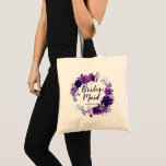 "Enchanted Floral Purple Bridesmaid Monogrammed Tote Bag<br><div class=""desc"">Enchanted Floral Purple and Silver Flowers Leaves Stems and Vines Watercolor Wreath Bridesmaid Monogrammed Name Bridal Wedding Party Tote Bag