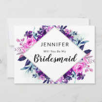Enchanted Floral Violet Bridesmaid Proposal Card