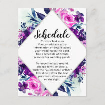 Enchanted Floral Violet Diamond Wedding Schedule Enclosure Card