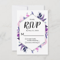 Enchanted Floral Violet Hexagon Framed Wedding RSVP Card