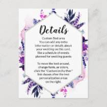 Enchanted Floral Violet Hexagon Wedding Details Enclosure Card