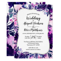 Enchanted Floral Violet Purple Watercolor Wedding Invitation