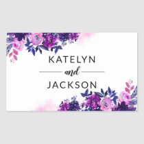 Enchanted Floral Violet Purple Wedding Monogram Rectangular Sticker