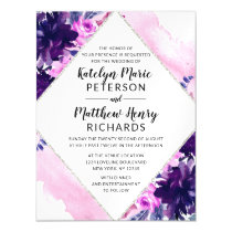 Enchanted Floral Violet Watercolor Diamond Wedding Magnetic Invitation