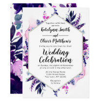Enchanted Floral Violet Watercolor Hexagon Wedding Invitation