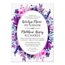 Enchanted Floral Violet Watercolor Oval Wedding Invitation