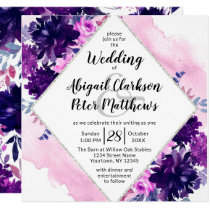 Enchanted Floral Violet Watercolor Wedding Square Invitation