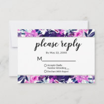 Enchanted Floral Violet Wedding Please Reply RSVP Card