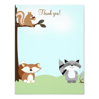Enchanted Forest 4x5 Flat Thank you note Card