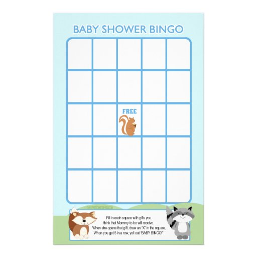 Enchanted Forest Animals Baby Shower Bingo Game Stationery