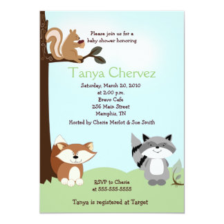 Enchanted Forest Animals Woodland Baby Shower 5x7 Card
