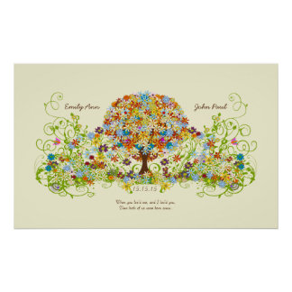 Enchanted Forest Circle of Love Wedding Tree Poster