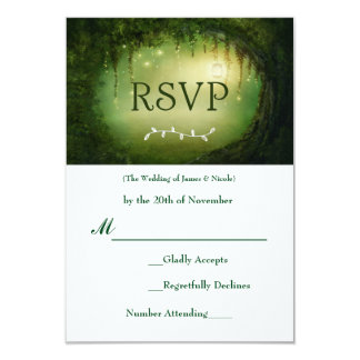Enchanted Forest Green Wedding RSVP Response Card