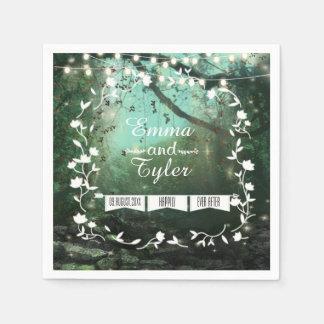 Enchanted Forest Lights Rustic Wedding Napkins