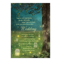 Enchanted Forest Mason Jar  Fireflies Wedding Invitation