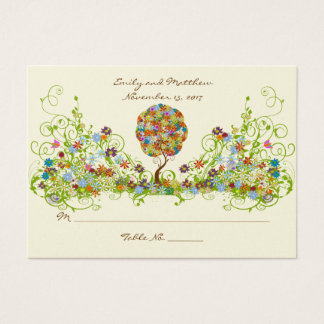 Enchanted Forest Patchwork Floral Fairy Tale Tree Business Card