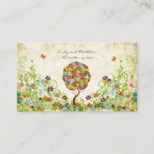 Enchanted Forest Patchwork Floral Fairy Tale Tree Enclosure Card