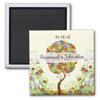 Enchanted Forest Patchwork Floral Fairy Tale Tree Magnet