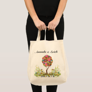 Enchanted Forest Patchwork Floral Fairy Tale Tree Tote Bag