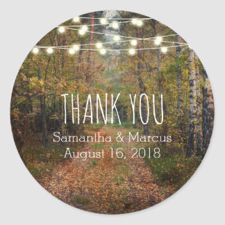 Enchanted Forest Path Wedding Thank You Classic Round Sticker