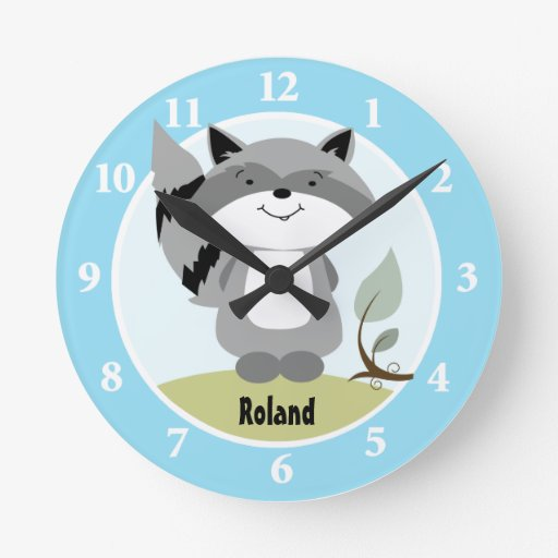 Enchanted Forest Raccoon Wall Clock