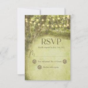 Enchanted Forest Rustic String Lights Wedding RSVP Card
