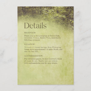 Enchanted Forest Rustic Trees Woodland Wedding Enclosure Card