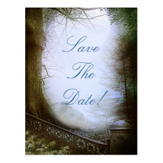Enchanted Forest Scene Save The Date Postcard