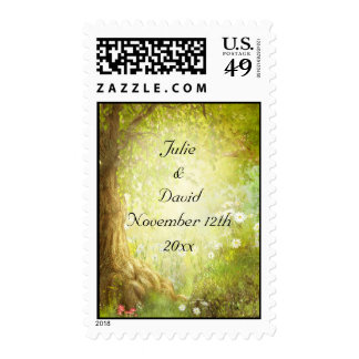 Enchanted Forest Scene Save The Date Wedding Stamps