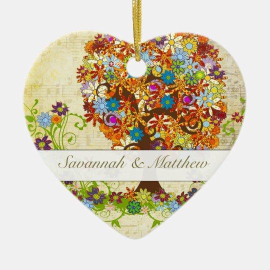 Enchanted Forest Side Branch Wedding Ceramic Ornament
