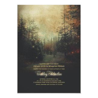 Enchanted Forest String Lights Trees Wedding Card