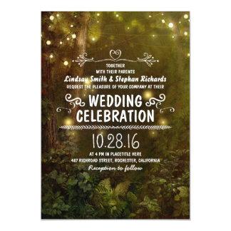 "enchanted forest string lights wedding invitations 5"" x 7"" invitation card"