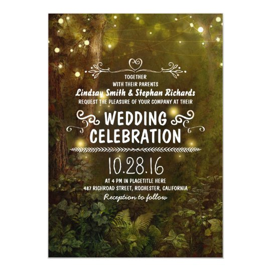 enchanted forest string lights wedding invitations | Zazzle