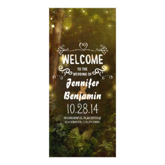 enchanted forest string lights wedding programs customized rack card