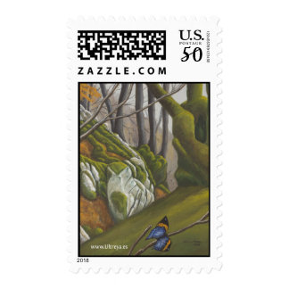 Enchanted Forest With Blue Butterfly Postage