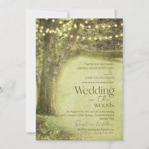 Enchanted Forest Woodland Trees Rustic Wedding Invitation