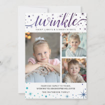 Enchanted Galaxy Stars TWINKLE | Teal & Purple Holiday Card