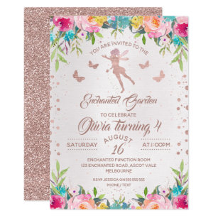 Enchanted Garden Fairy Birthday Invitation