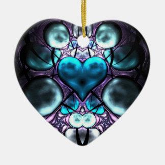 Enchanted Heart Fractal Tree Ornaments