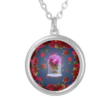Halloween Themed Enchanted Magical Red Rose Beauty & The Beast Silver Plated Necklace